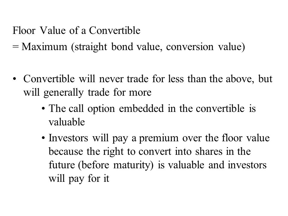 Floor Value of a Convertible