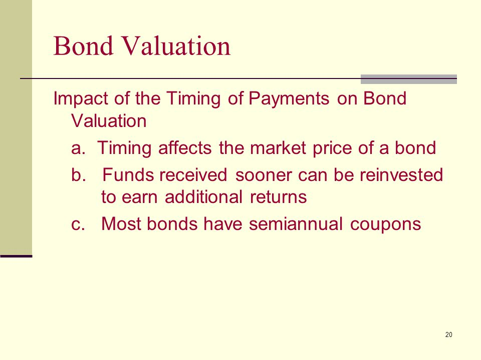 Bond Valuation Impact of the Timing of Payments on Bond Valuation