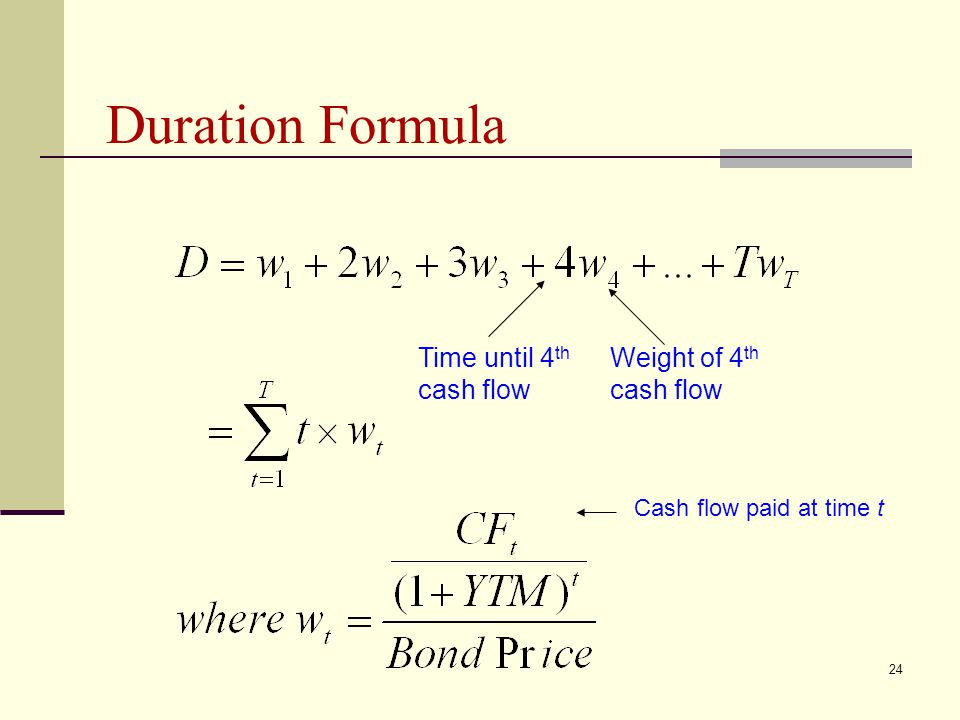 Duration Formula Time until 4th cash flow Weight of 4th cash flow