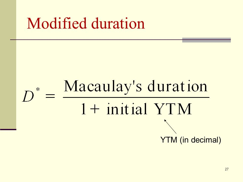Modified duration YTM (in decimal)