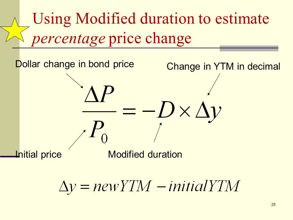 Using Modified duration to estimate percentage price change