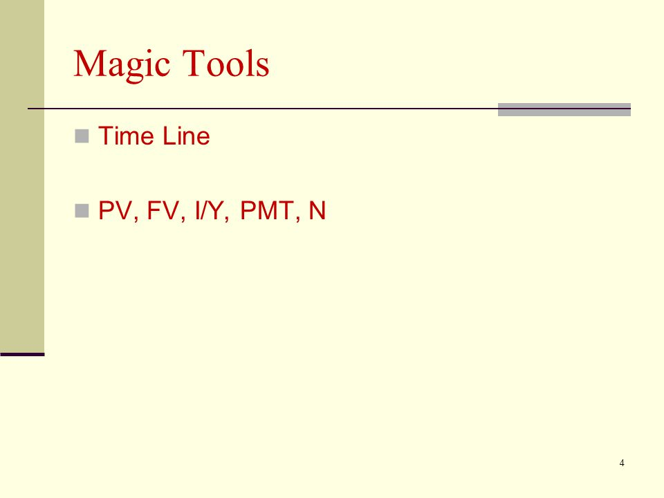 Magic Tools Time Line PV, FV, I/Y, PMT, N