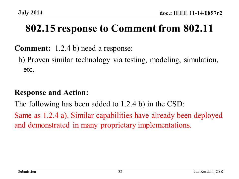 802.15 response to Comment from 802.11