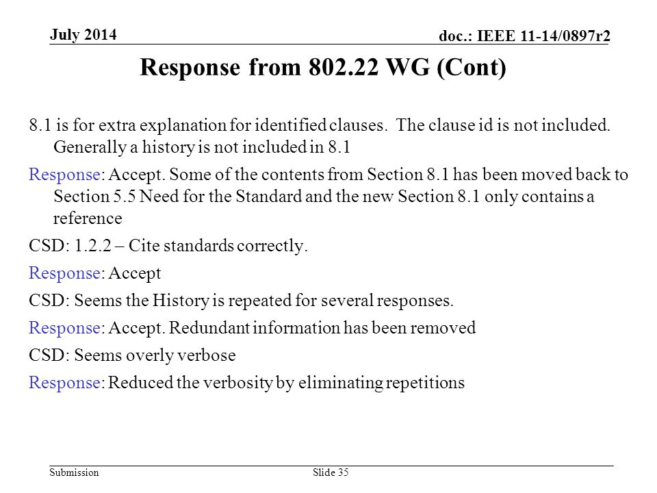 Response from 802.22 WG (Cont)