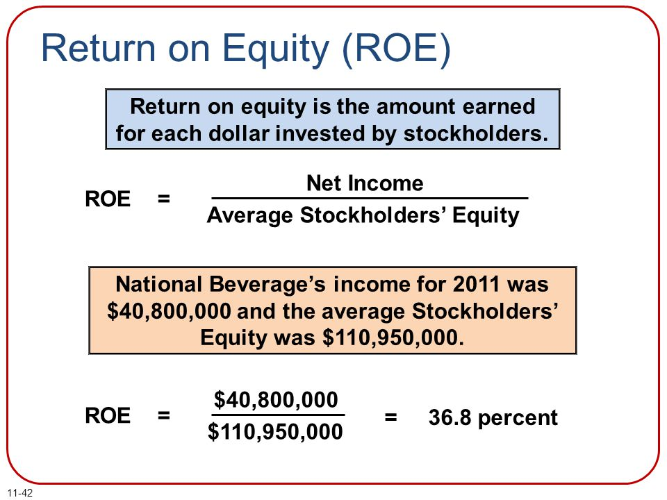 Return on Equity (ROE) Return on equity is the amount earned for each dollar invested by stockholders.