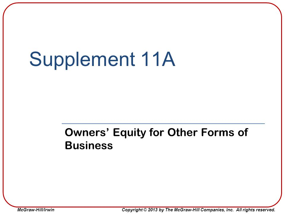 Owners' Equity for Other Forms of Business