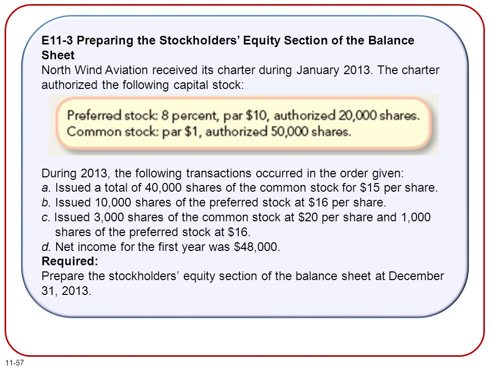 E11-3 Preparing the Stockholders' Equity Section of the Balance Sheet