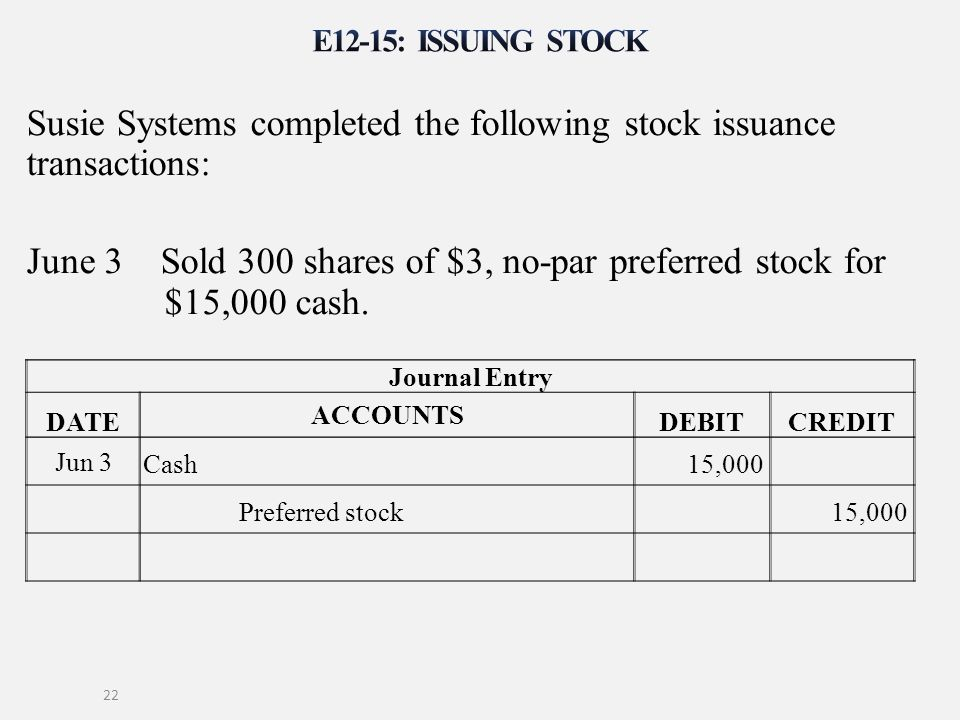 Susie Systems completed the following stock issuance transactions: