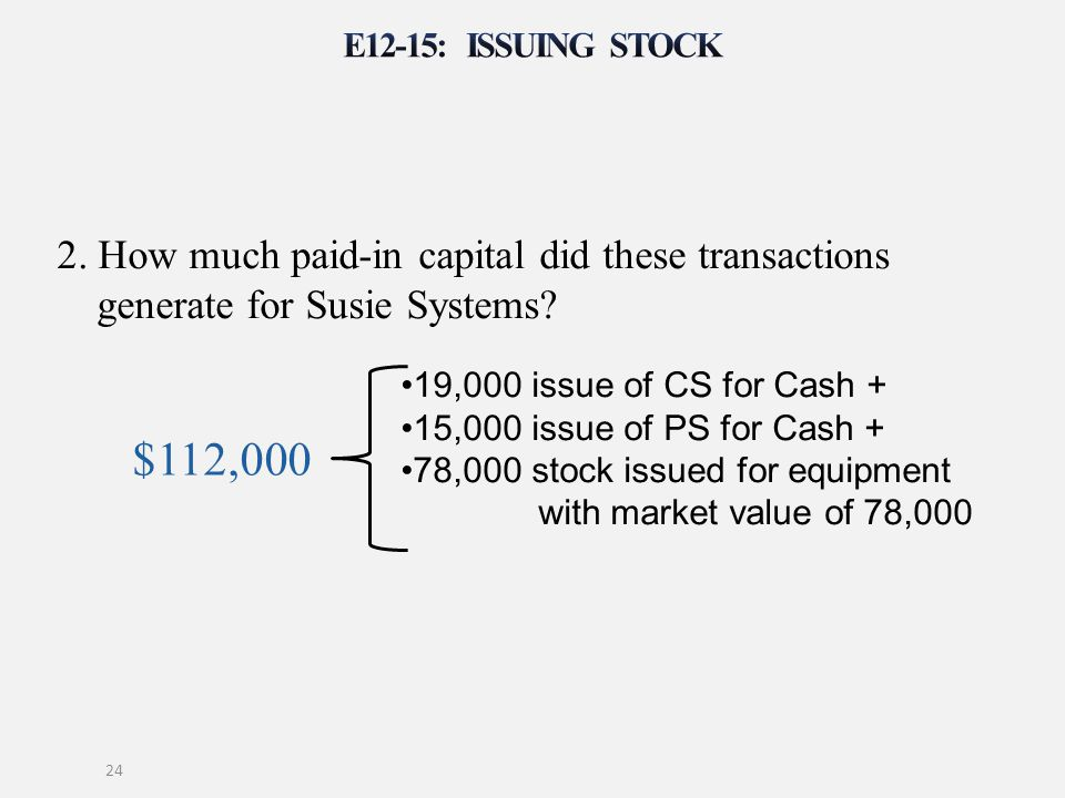 E12-15: Issuing stock 2. How much paid-in capital did these transactions generate for Susie Systems
