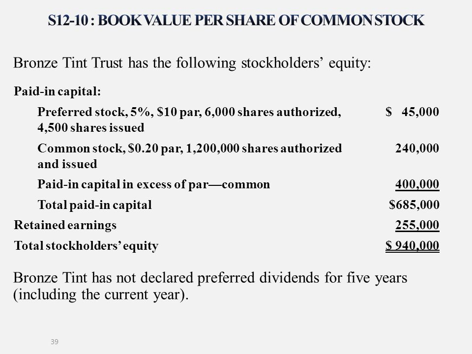 S12-10 : Book value per share of common stock
