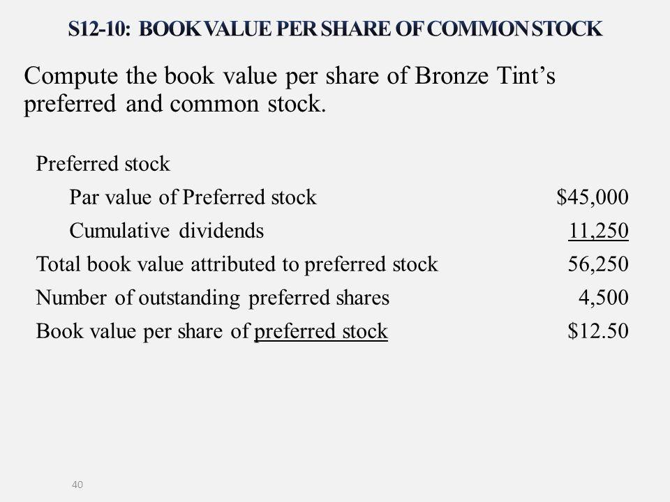 S12-10: Book value per share of common stock