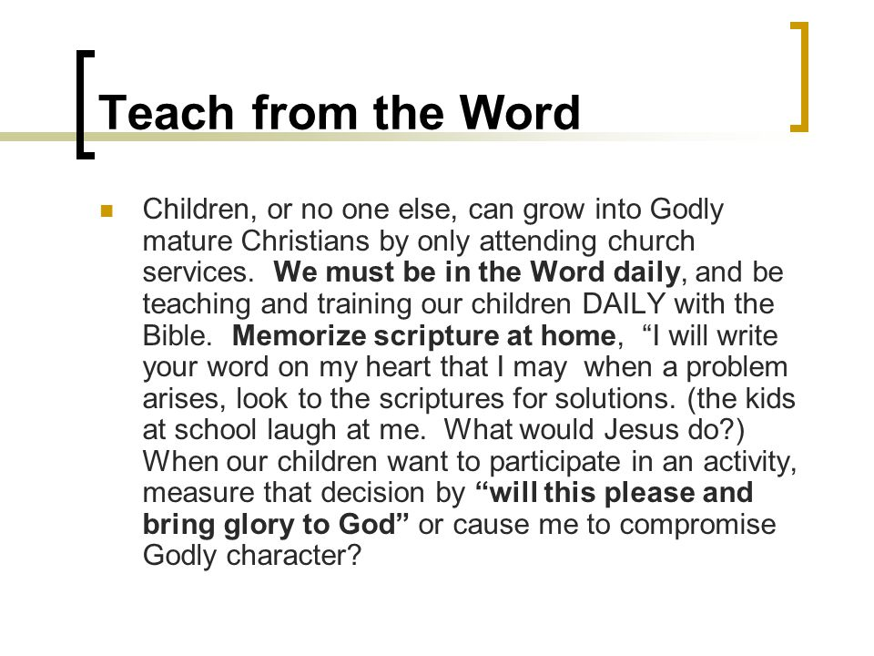 Teach from the Word