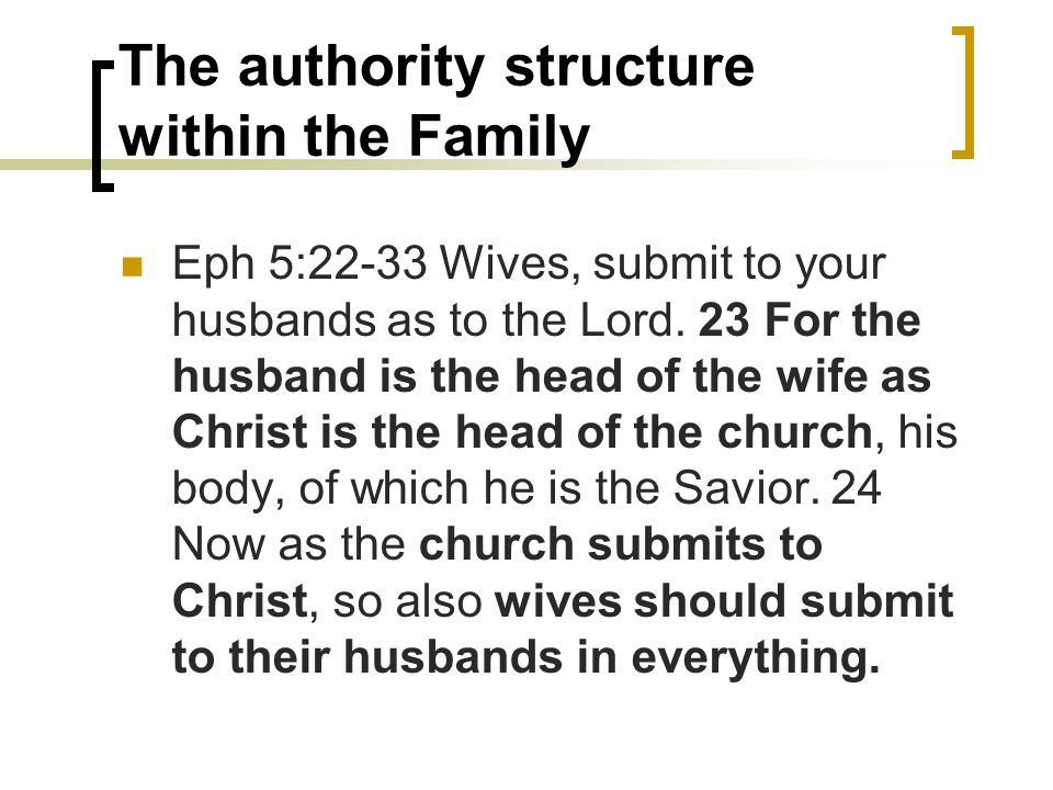 The authority structure within the Family