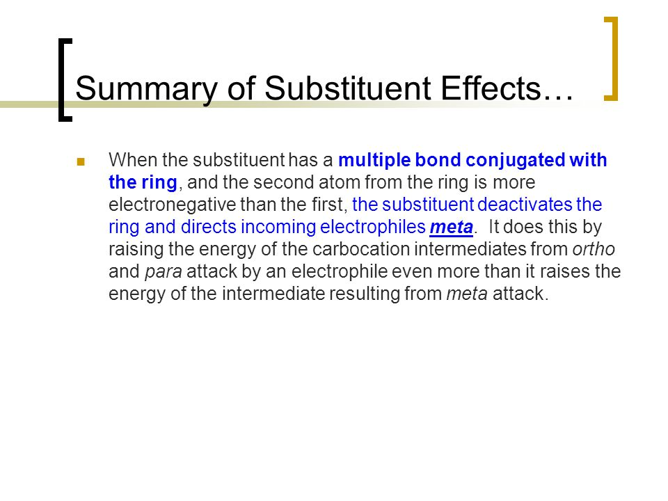 Summary of Substituent Effects…