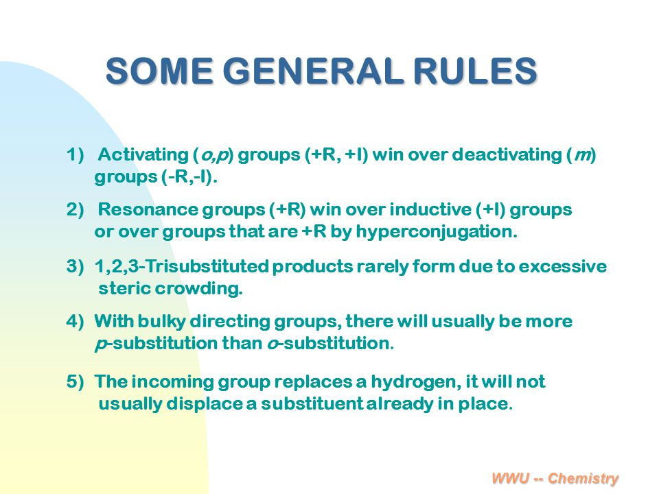 4/6/2017 SOME GENERAL RULES. 1) Activating (o,p) groups (+R, +I) win over deactivating (m) groups (-R,-I).