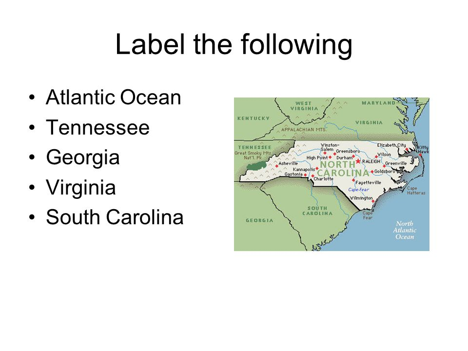 Label the following Atlantic Ocean Tennessee Georgia Virginia