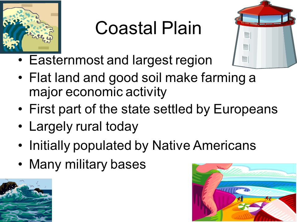 Coastal Plain Easternmost and largest region