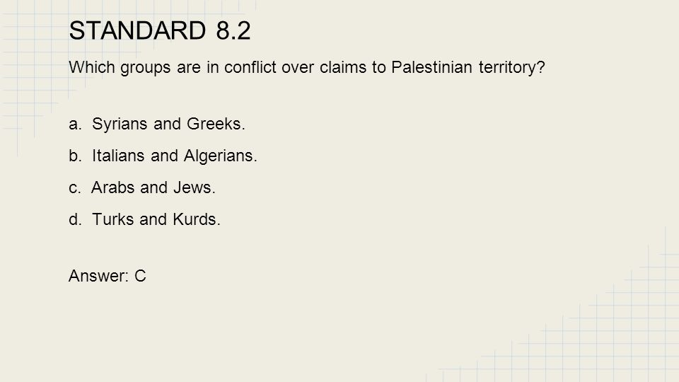 STANDARD 8.2 Which groups are in conflict over claims to Palestinian territory a. Syrians and Greeks.