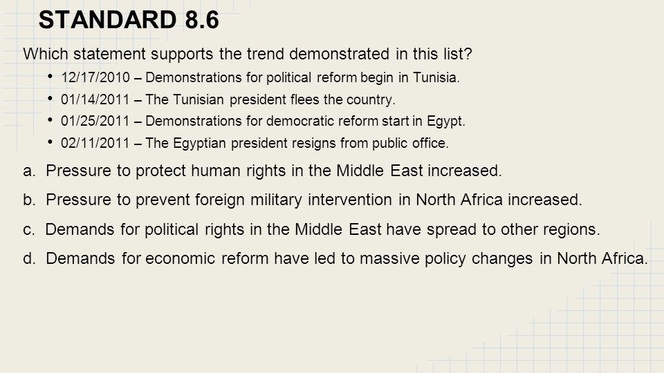 STANDARD 8.6 Which statement supports the trend demonstrated in this list 12/17/2010 – Demonstrations for political reform begin in Tunisia.