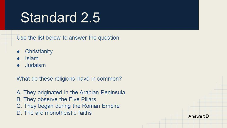 Standard 2.5 Use the list below to answer the question. Christianity