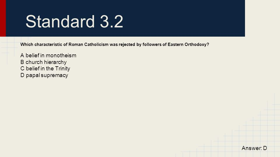 Standard 3.2 A belief in monotheism B church hierarchy