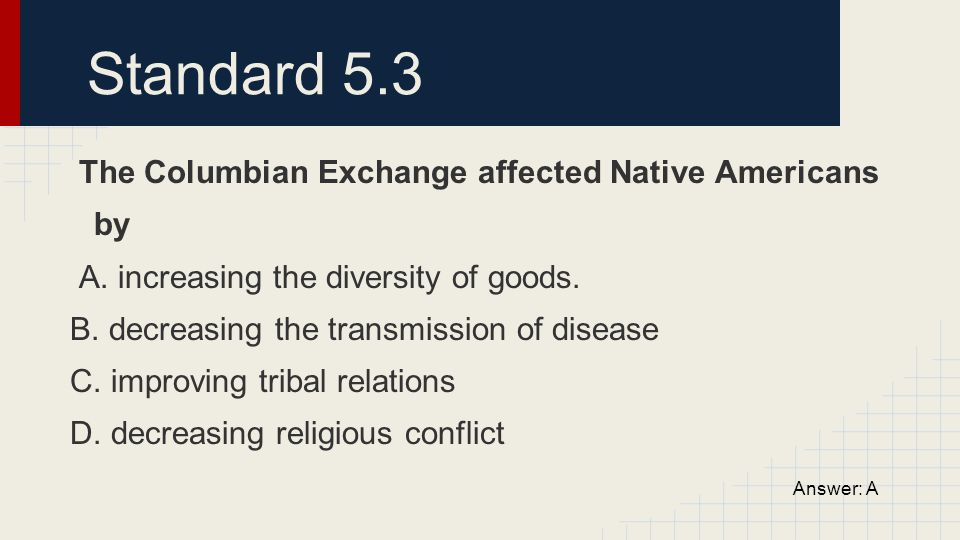 Standard 5.3 The Columbian Exchange affected Native Americans by