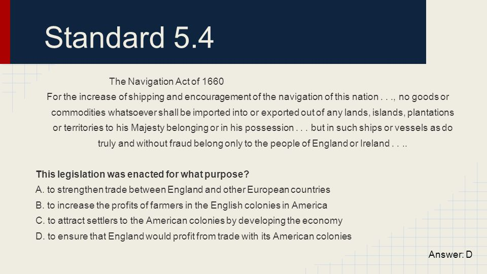 Standard 5.4 The Navigation Act of 1660