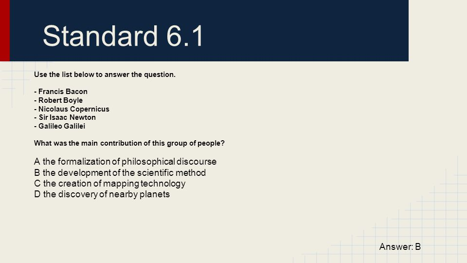 Standard 6.1 A the formalization of philosophical discourse