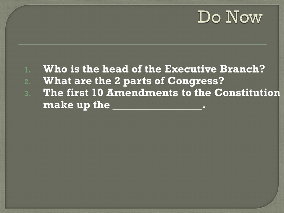 Do Now Who is the head of the Executive Branch