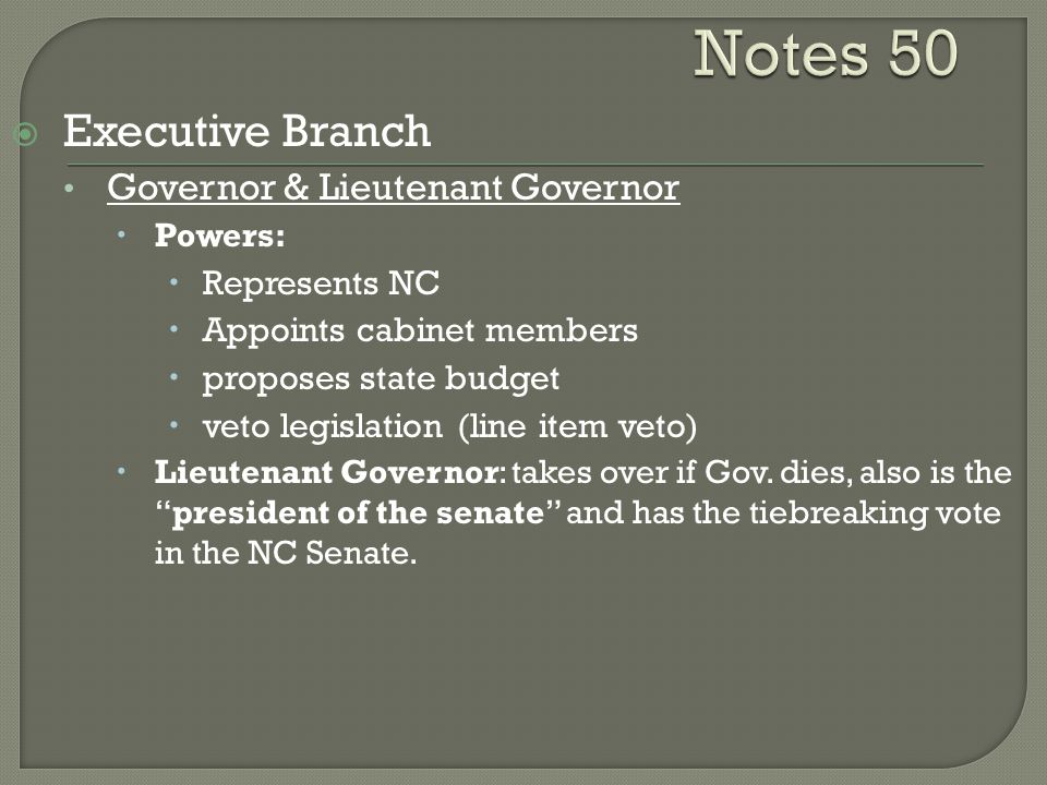 Notes 50 Executive Branch Governor & Lieutenant Governor Represents NC