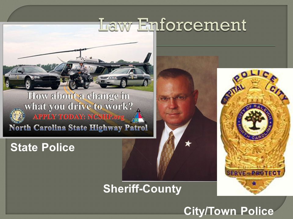Law Enforcement State Police Sheriff-County City/Town Police