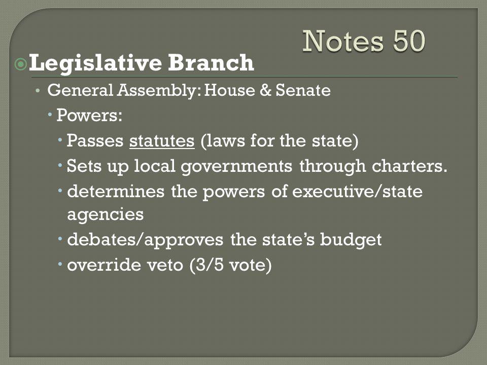 Notes 50 Legislative Branch Powers: