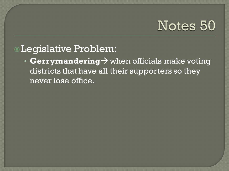 Notes 50 Legislative Problem: