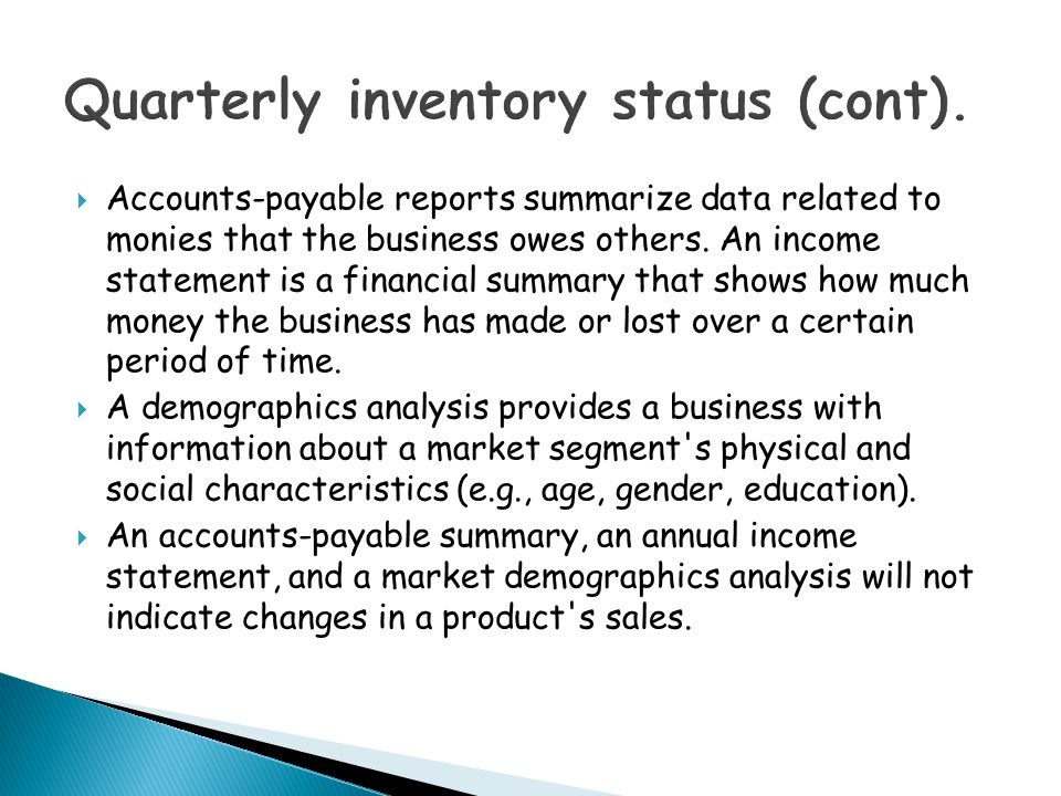 Quarterly inventory status (cont).