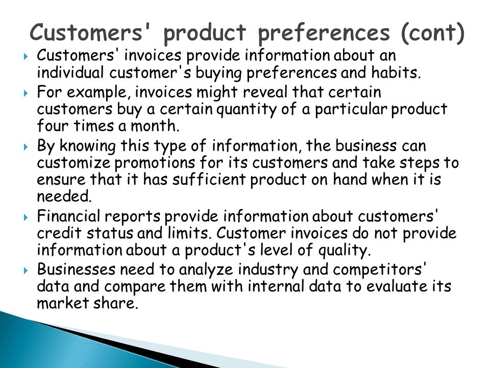 Customers product preferences (cont)