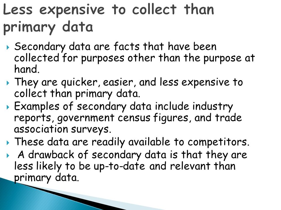 Less expensive to collect than primary data