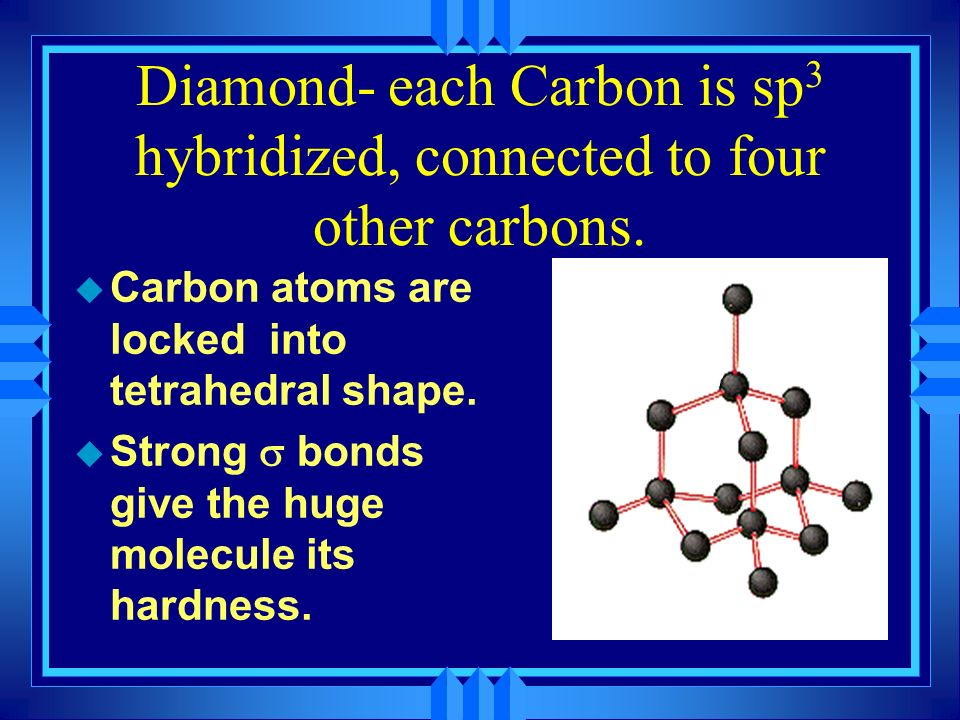 Diamond- each Carbon is sp3 hybridized, connected to four other carbons.