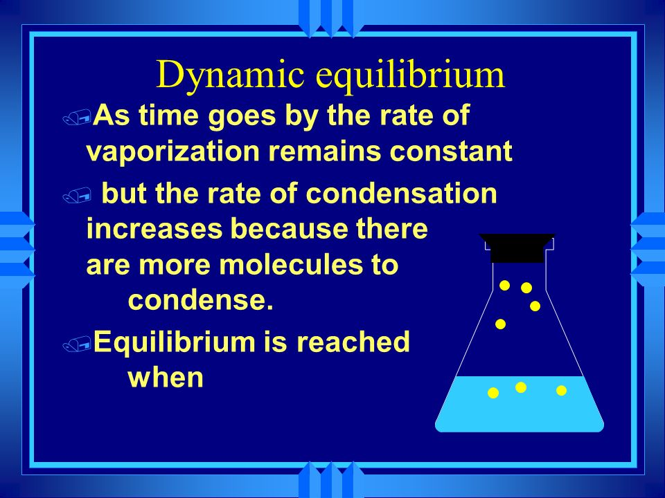 Dynamic equilibrium As time goes by the rate of vaporization remains constant.
