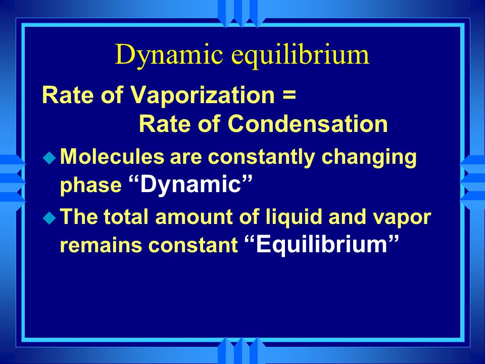 Dynamic equilibrium Rate of Vaporization = Rate of Condensation