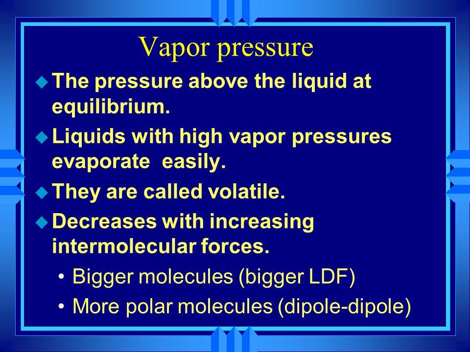 Vapor pressure The pressure above the liquid at equilibrium.