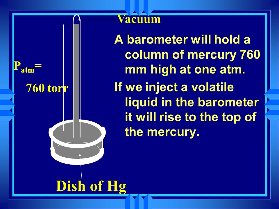 Dish of Hg Vacuum. Patm= 760 torr. A barometer will hold a column of mercury 760 mm high at one atm.