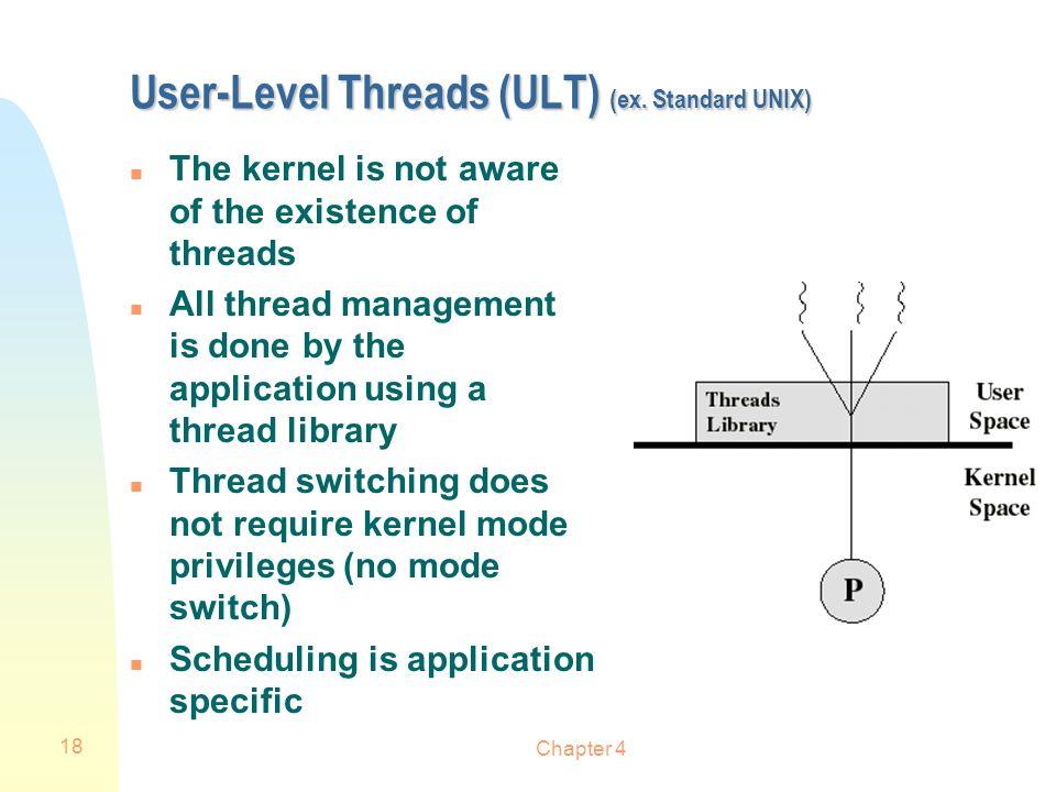 User-Level Threads (ULT) (ex. Standard UNIX)