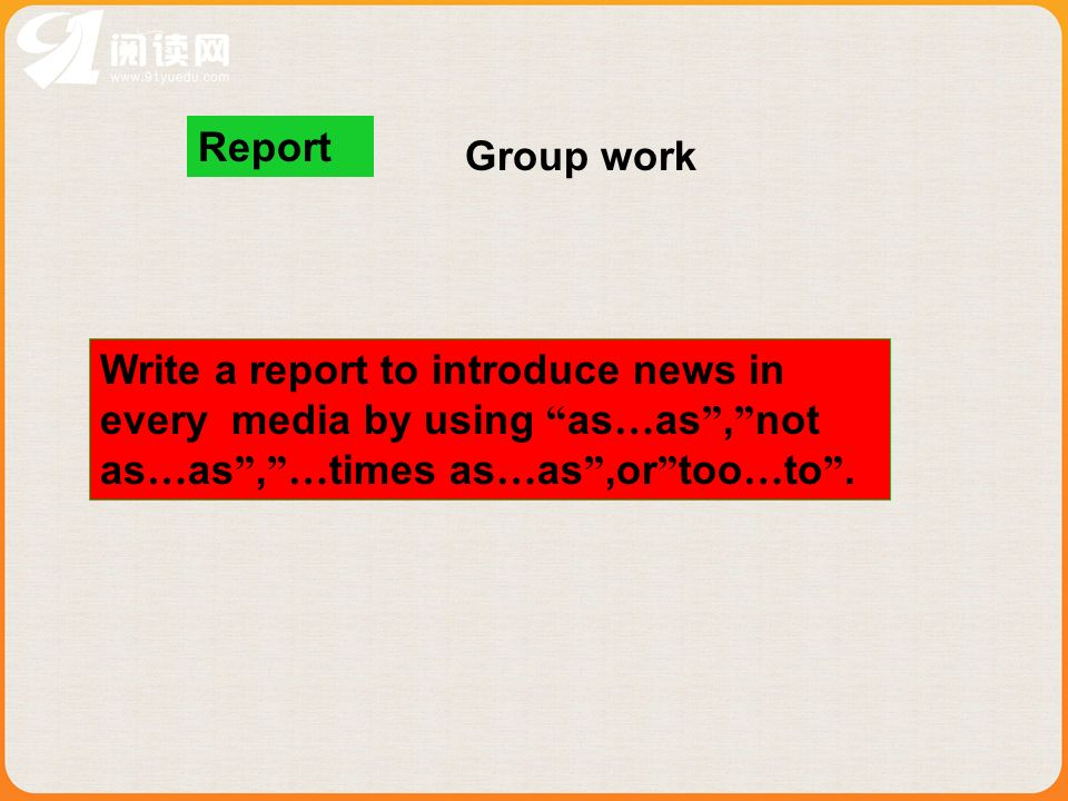 Report Group work.