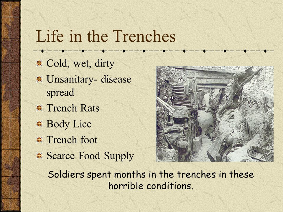 Soldiers spent months in the trenches in these horrible conditions.