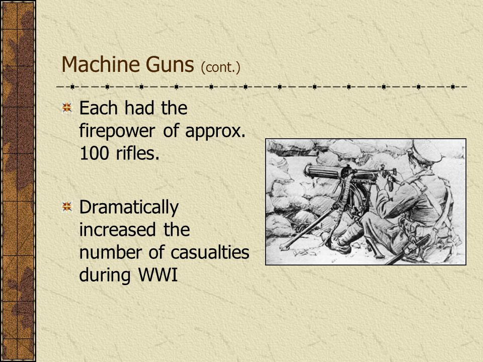 Machine Guns (cont.) Each had the firepower of approx. 100 rifles.