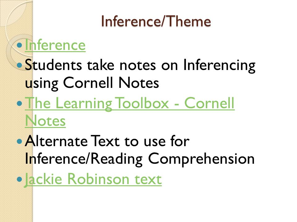 Students take notes on Inferencing using Cornell Notes