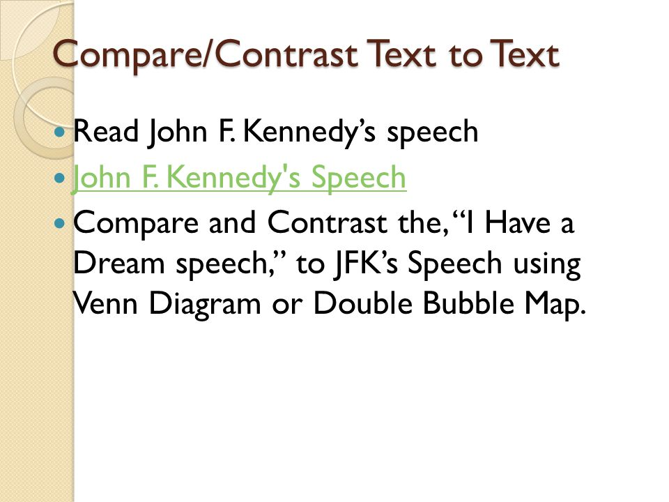 Compare/Contrast Text to Text