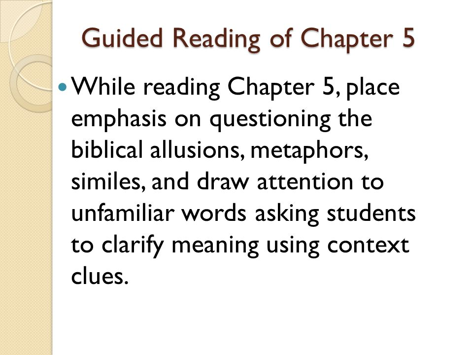 Guided Reading of Chapter 5