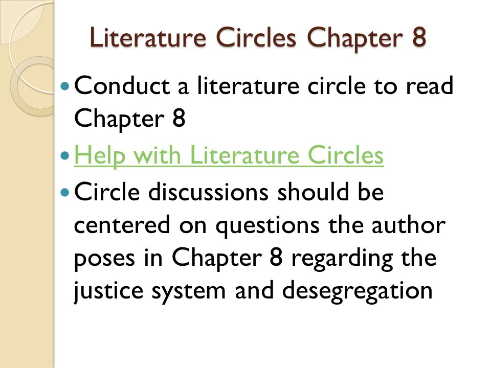 Literature Circles Chapter 8