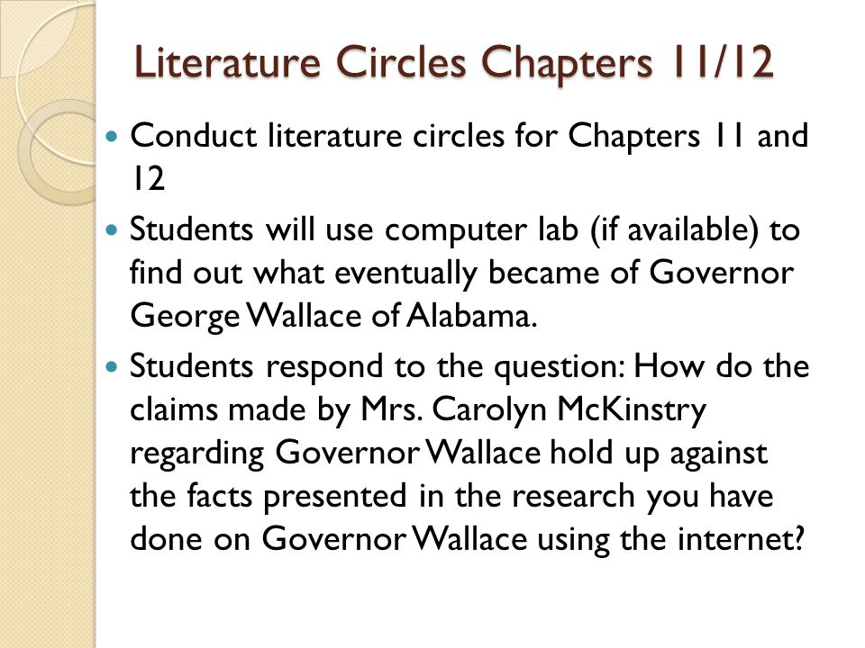 Literature Circles Chapters 11/12